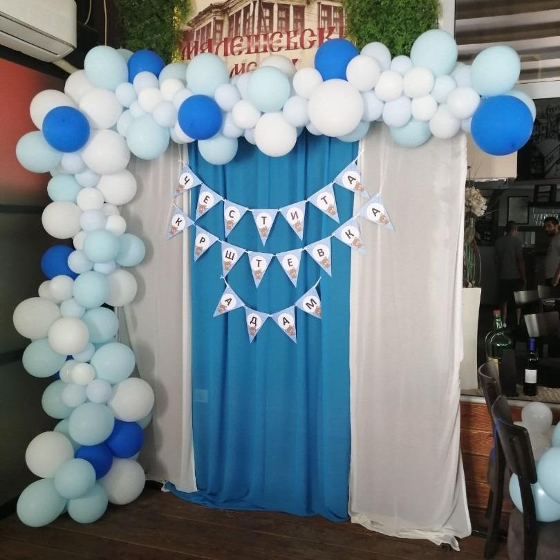 Позадина со  балони за сликање за крштевка