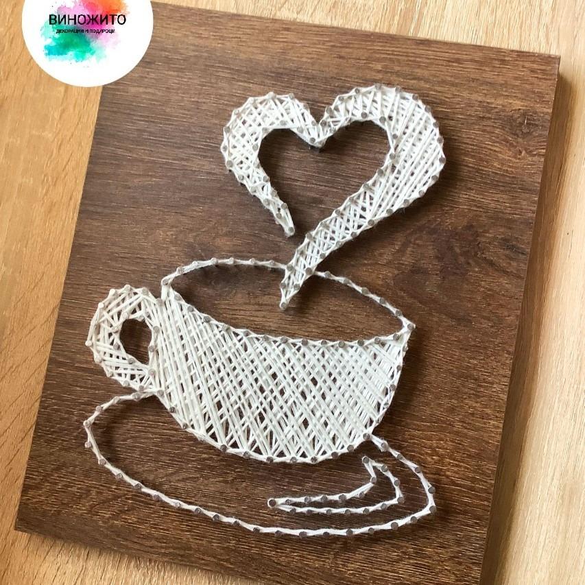 Подарок или декорација за сите љубители на кафе! Дрвена слика за на ѕид со кафе